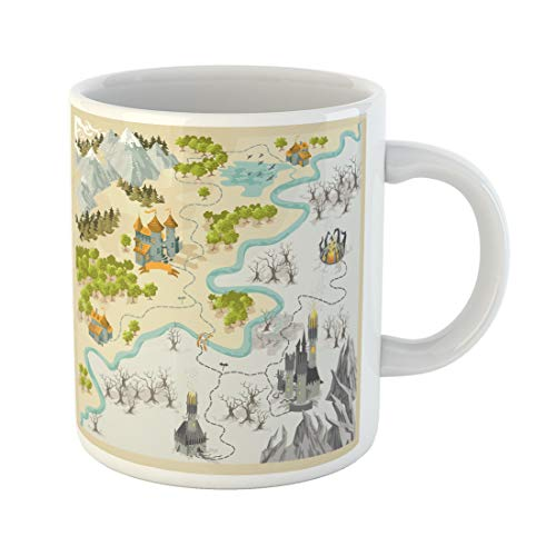 Emvency Funny Coffee Mug Game Fantasy Adventure Map with Colorful Doodle Hand Draw in Set2 Medieval 11 Oz Ceramic Coffee Mug Tea Cup Best Gift Or Souvenir ()