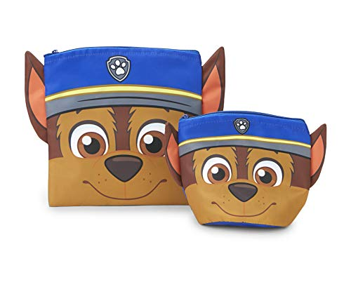 Paw Patrol Reusable Sandwich and Snack Bags Set - Eco Friendly, Zip Closure Bags - Kids Friendly Design for Boys or Girls - Dishwasher Safe, BPA Free Design -Set of 2-1 Large/1 Small, Chase