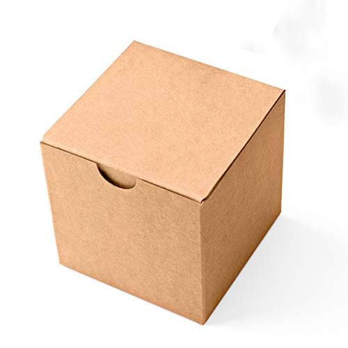 MESHA Kraft Gift Brown Boxes 50 Pack 3 x 3 x 3 inches, Paper Gift Boxes with Lids for Gifts, Mugs, Cupcake Boxes ()