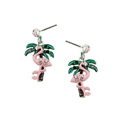 Liavy's Pink Flamingo & Palm Tree Fashionable Earrings - Enamel - Dangle Post - Sparkling Crystal - Unique Gift and Souvenir