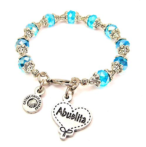 (ChubbyChicoCharms Abuelita Quilted Heart Scroll Capped Crystal Bracelet in Aqua Blue)