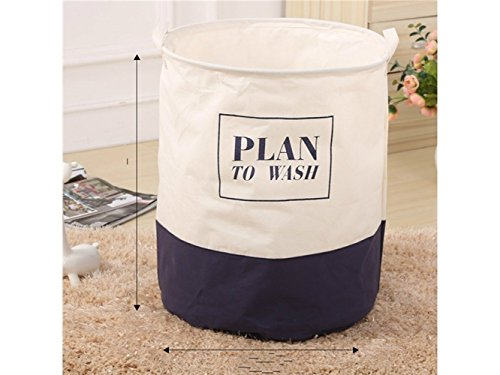 Gelaiken Lightweight Stitching Pattern Storage Bucket Canvas Bag Sundries Storage Bucket(Dark Blue+White) by Gelaiken