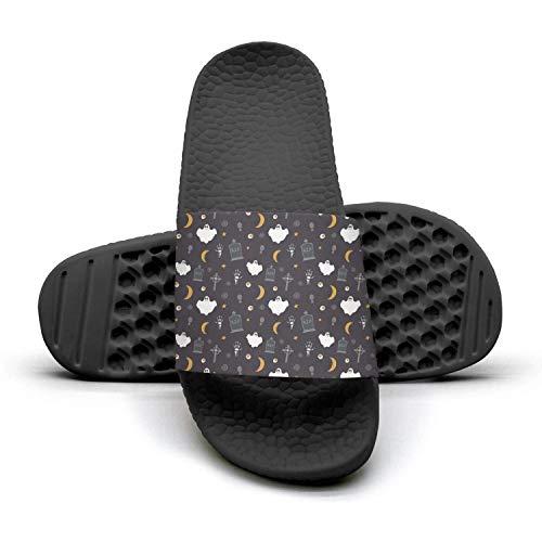 Young Women Popular Slipper Happy Halloween-ghostblack Lightweight Open Toe Flat Bedroom Sandal
