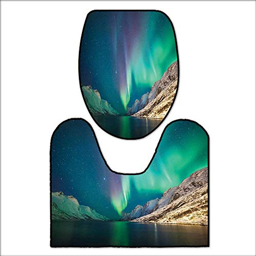 qianhehome Bathroom Non-Slip Rug Set Mystical Northern Lights Above Rocky Hills Magnetic Poles Solar Space Panorama for ES Jade Green. in Bath Mat Bathroom RugsL20 x W16-W18 x H19 by qianhehome