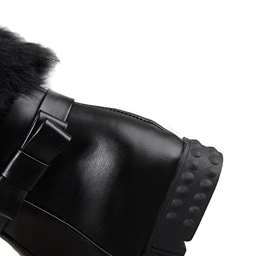 AmoonyFashion Womens Pull-on Round Closed Toe Kitten-Heels PU Low-top Boots Black j5p9qaU