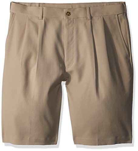 PGA TOUR Men's Double Pleat Expandable Short, Chinchilla, 38 (Golf Pleats Shorts)