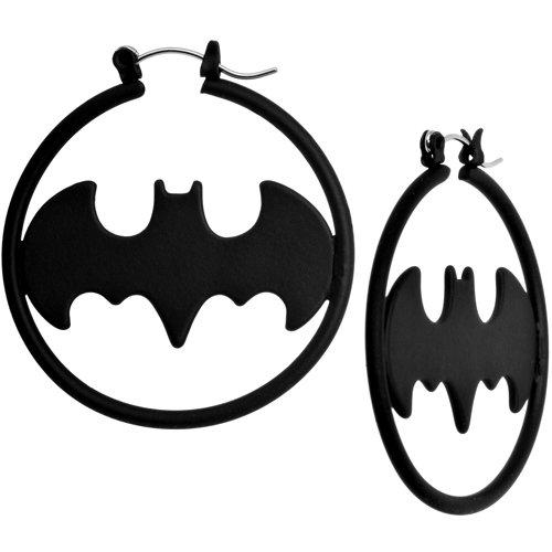 Black Matte Batman Logo Hoop Earrings