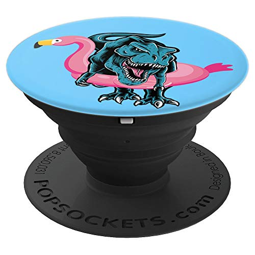 T-Rex in Flamingo Float | Funny Pool Party T-Rex Dinosaur PopSockets Grip and Stand for Phones and Tablets
