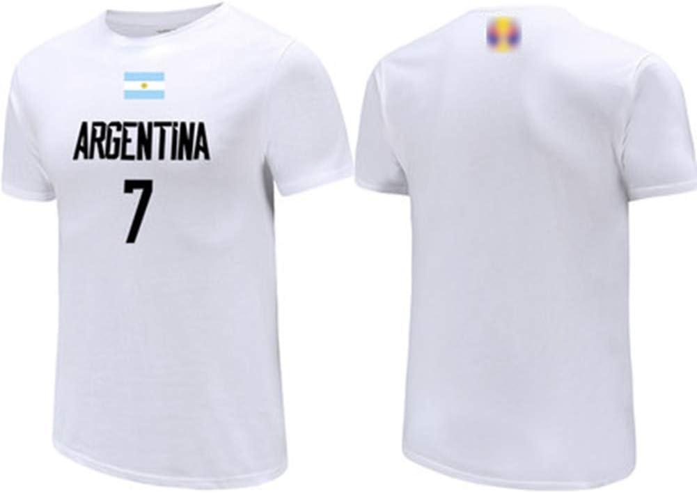 HS-XP Campazzo No.7 ARG Baloncesto Equipo Nacional T-Camisa Blanca, Jerseys de los Hombres, Casual Baloncesto Sudadera Uniforme Sportwear de 2019 Baloncesto Copa del Mundo,B,L(173~178) CM: Amazon.es: Hogar