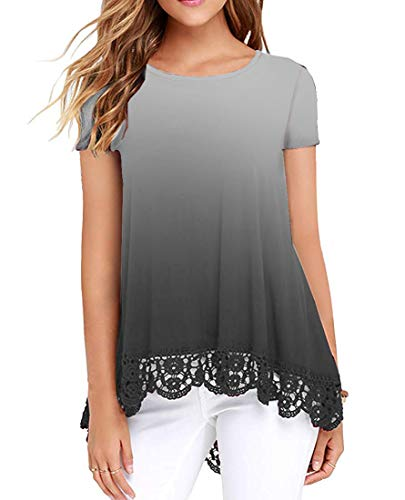 (UUANG Women Dip-Dye O Neck Peasant Summer Swing Tunic Tops Shirts (Gradual Grey,S))