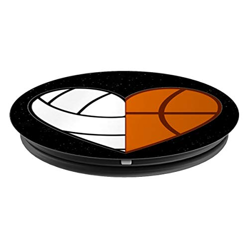 Black Volleyball Basketball Heart Phone Holder Teen Girls - PopSockets Grip and Stand for Phones and Tablets