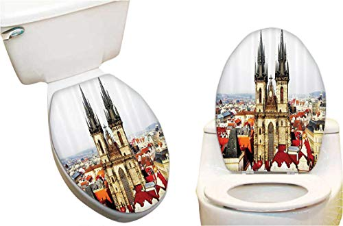 (SeptSonne Toilet Cover Sticker Bird Eye Prague and Tyn Church Castle Houses Autumn Old Town Square Creative Toilet Cover Stickers 6