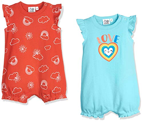 Silly Apples Baby Girls Cotton Blend 2-Pack Short-Sleeve Romper Onesies (6M)