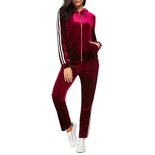 Fantasy Closet Womens 2 Pieces Outfits Long Sleeve Zipper Hoodie and Pants Set Tracksuit, Wine Red, Medium