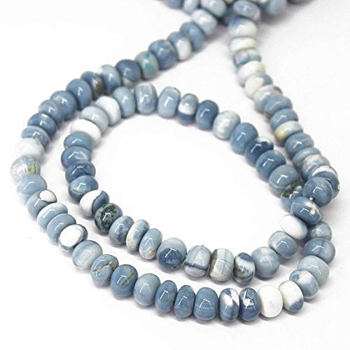 Beads Bazar Natural Beautiful jewellery Natural Blue Opal Smooth Gemstone Rondelle Gemstone Loose Craft Beads Strand 18