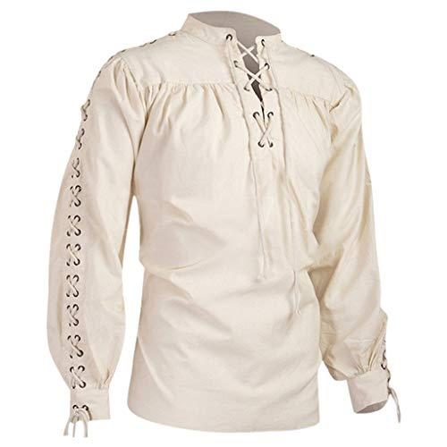 Happy Halloween Hawaii (SDCSQ Men's Blouse Elegant Retro Bandage Long Sleeve Medieval Shirt Gothic Man)