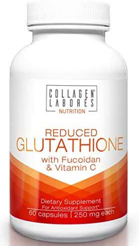 Reduced Glutathione 500mg Supplements – 60 Capsules – with Fucoidan & Vitamin C – Supplements to Maintain Healthy Immunity, for Healthy Liver & Detox - Non-GMO, Gluten-Free – GMP Certified
