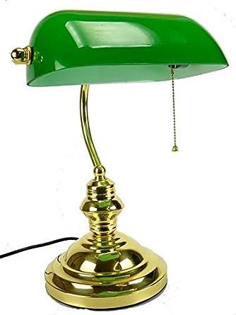 Lampada Da Tavolo Ministeriale Vetro Verde In Ottone Churchill Inglese Amazon It Illuminazione