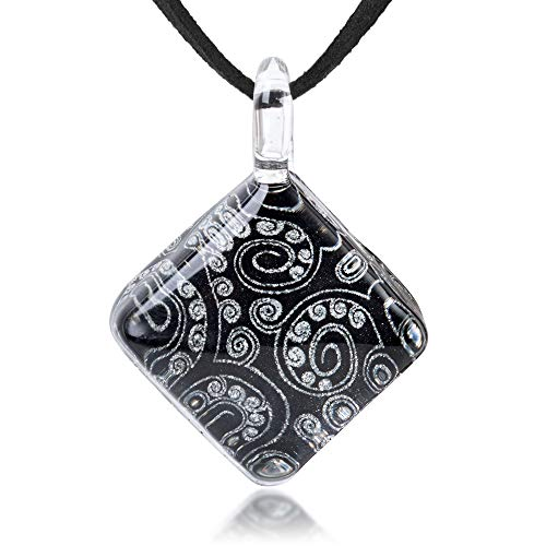 Chuvora Hand Blown Glass Jewelry Black Silver Grey Abstract Art Square Pendant Necklace 17-19 inches