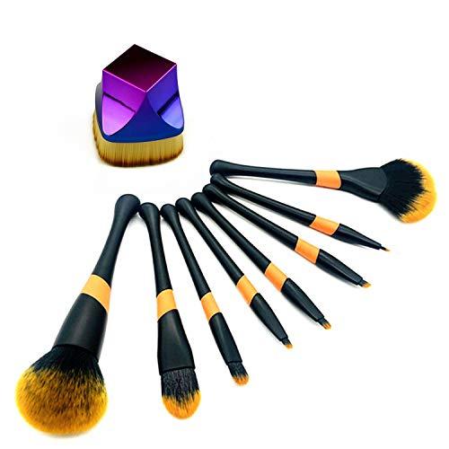 Professional Makeup Brush Set 9Pcs Square Seal Flat Foundation Brush Large Fan Kabuki Eyebrow Highlighter Blush Lip Highend Face Brush for Liquid Powder Cream (9 Pack)