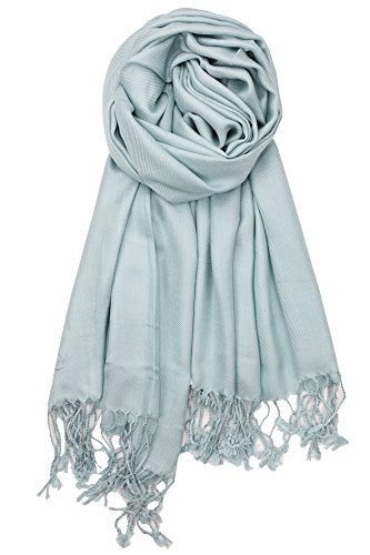 Achillea Large Soft Silky Pashmina Shawl Wrap Scarf in Solid Colors (Pale Teal)