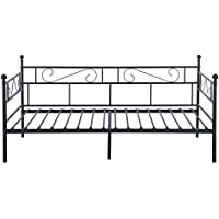 GreenForest Daybed Twin Bed Frame with Headboard and Stable Steel Slats Mattress Platform Base Boxspring Replacement Easy Assembly for Living Room Guest Room(Black)