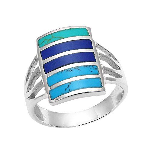 Turquoise Lapis Inlay - AeraVida Blue Tone Horizontal Paths Stone Inlay .925 Sterling Silver Ring (6)