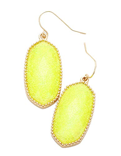 Gold and Yellow Glitter Oval Dangle Earrings.