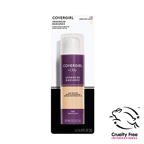 COVERGIRL Advanced Radiance Age Defying Foundation Makeup Medium Light, 1 oz (packaging may vary)