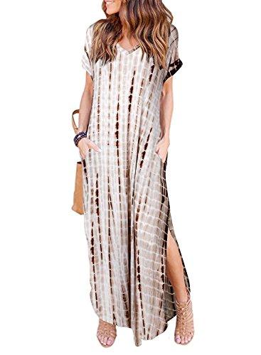 Women's Summer Maxi Dress Casual Loose Pockets Long Dress Short Sleeve Split Brown