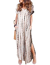 Womens Casual Pocket Beach Long Dress Short Sleeve Split Loose Maxi Dress