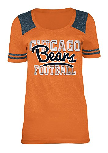 NFL Chicago Bears Women's Tri-Blend Jersey Scoop Neck Tee, X-Large, Orange