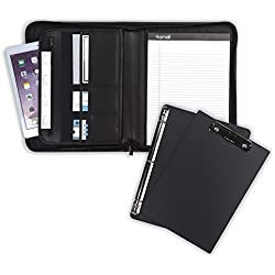 "Samsill 70829 Professional Padfolio Bundle, Includes Removable Clipboard, .5"" Round Ring Binder with Secure Zippered Closure, 10.1 Inch Tablet Sleeve, Black"