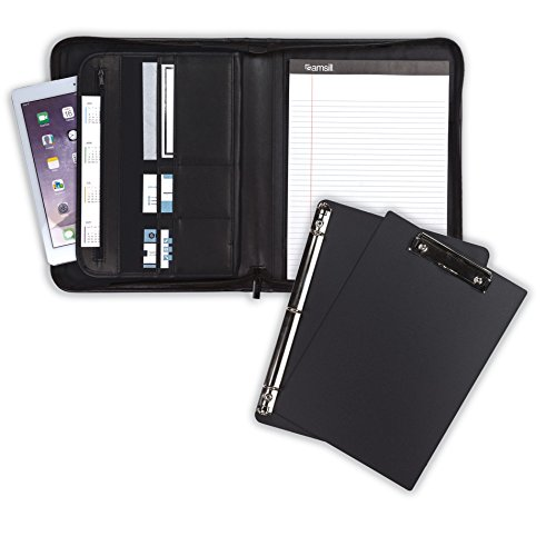 "Samsill 70829 Professional Padfolio Bundle, Includes Removable Clipboard, .5"" Round Ring Binder with Secure Zippered Closure, 10.1 Inch Tablet Sleeve, (Leather Portfolio Clipboard)"