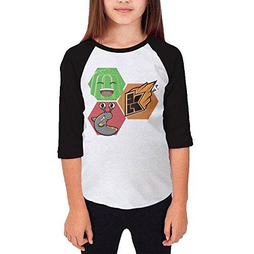 Price comparison product image Youtube Jelly Kwebbelkop Slogoman Unisex Youth Cotton 3/4 Sleeve Baseball Jersey Tee Shirt Black X-Large