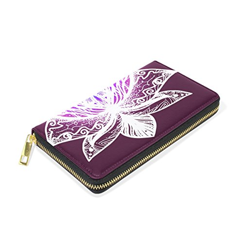 Wallet And Zip Handbags Clutch Bright Organizer TIZORAX Flower Womens Lotus Purses Around f4zP1wq