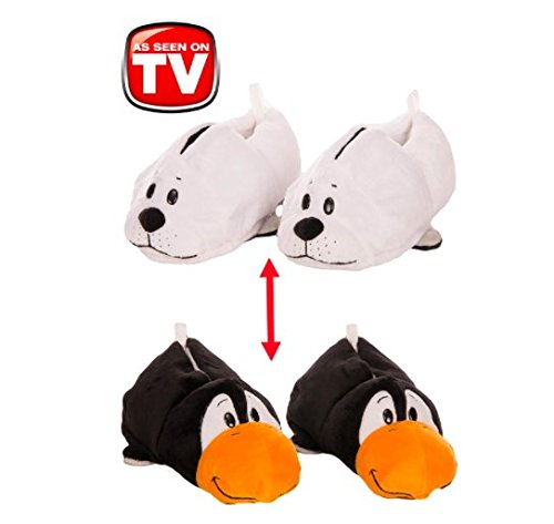 FlipaZoo Slippers White Seal Transforming to Penguin Size Small - Two in One Warm & Comfy Plush Slippers