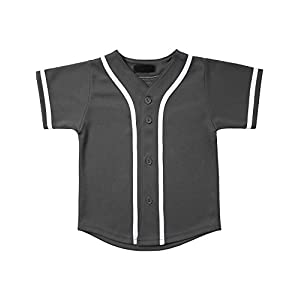 Hat and Beyond Kids Baseball Jersey Button Down T Shirts Hipster Plain Hip Hop Uniforms UP (03T, 5pu01_Cha.WHI)