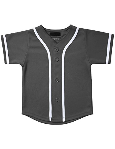 (Hat and Beyond Kids Baseball Jersey Button Down T Shirts Hipster Plain Hip Hop Uniforms (03T, 5pu01_Cha.WHI))