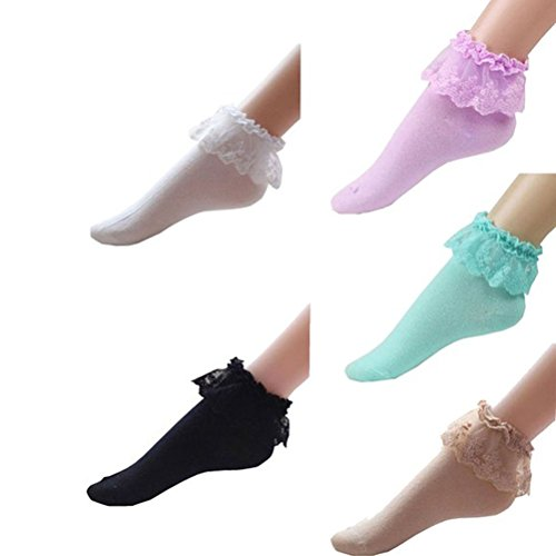 Pixnor Women Vintage Lace Cotton Ruffle Frilly Ankle Crew Socks 5 Pack, Multicolor, One Size