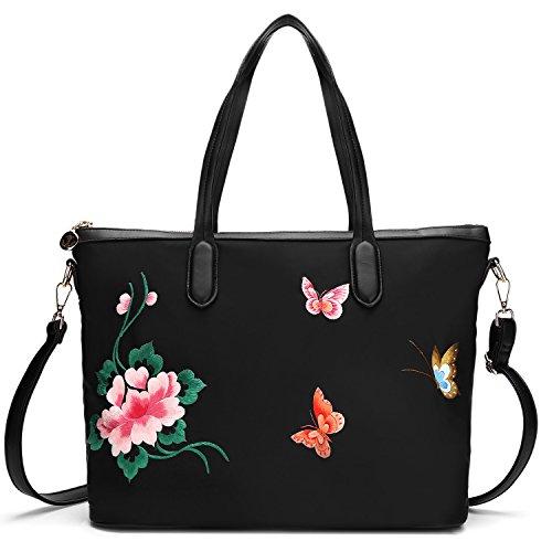 style Femmes broderie la bandoulière sac sac fleurs broderie papillon à à à chinois à cuir sac dos véritable dos main en xrnaFq1CrY
