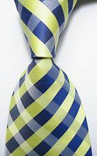 (Scott Alania® New Classic Checks Yellow Blue JACQUARD WOVEN 100% Silk Men's Tie Necktie)