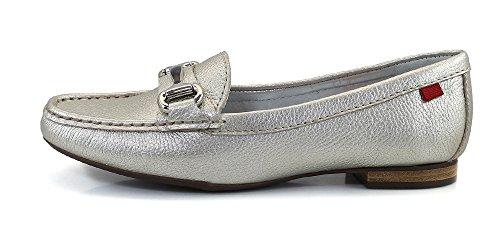Frauen Echtes Leder Made In Brasilien Grand Street Schnalle Loafer Marc Joseph NY Mode Schuhe Platin körnig