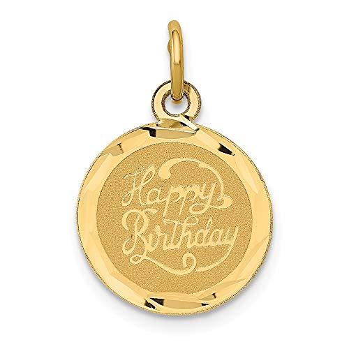 14k Happy Birthday Disc Charm, 14 kt Yellow Gold