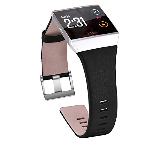 Fitbit Ionic Band Leather - V-Moro Fitbit Ionic Genuine Leather Band Strap Replacement Accessories with Adapter for Fitbit Ionic Women Men (Large, Black)