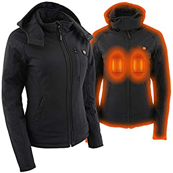 Milwaukee Leather Heated Textile Women's Soft Shell hoodie Jacket - Battery Pack Included (BLACK, LG)