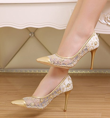 Bridal Stiletto Pumps Slip Heels Party Toe Sexy On High Heels Shoes Dress Womens Sequin Pointed Cutout Aisun Gold Gauze 8Pq6Owxx1
