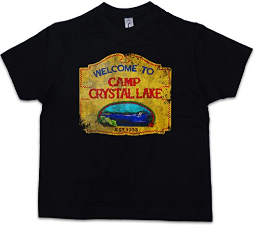 Urban Backwoods Camp Crystal Lake Vintage Sign Kids Boys T-Shirt Freitag The 13 Friday Jason Horror 13th (13th Lake Camp Crystal Sign)