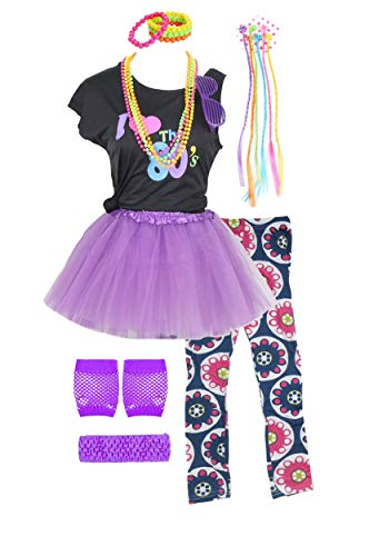 Girls 80s T-Shirt Costume Outfit Accessories Headwear Skirt Leggings Gloves (10/12, Purple)