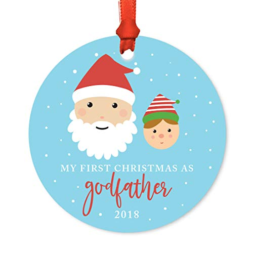 Andaz Press Family Round Metal Christmas Ornament, My First Christmas As Godfather 2018, Santa and Mrs. Claus with Elf, 1-Pack, Includes Ribbon and Gift Bag -  APP12126